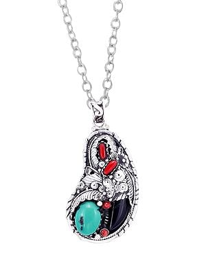 Designer Sterling Silver Pendant with Black Onyx | Coral |Turquoise Stone