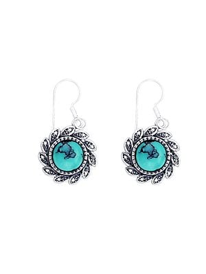 Designer Sterling Silver Earrings with Turquoise Stone