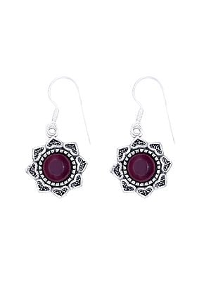Designer Sterling Silver Earrings Studded with Ruby Stone