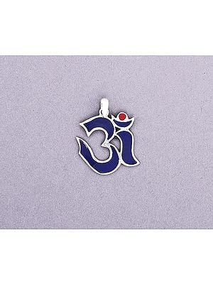 Sterling Silver Om Pendant with Blue Inlay