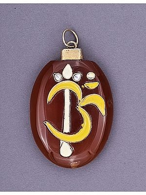 Om Agate & Enamel Pendant with Trident