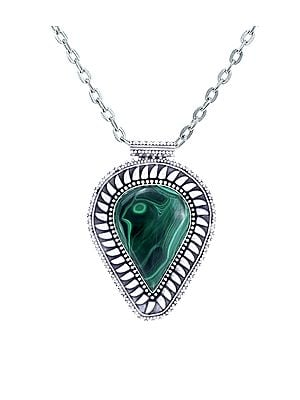 Large Pan Shaped Sterling Silver Pendant with Malachite Stone