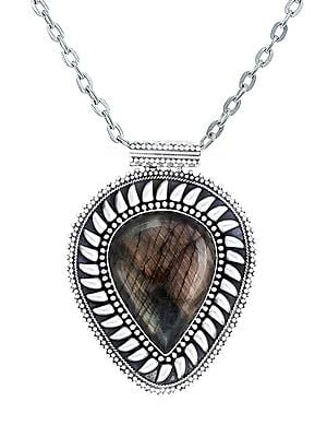 Large Pan Shaped Sterling Silver Pendant with Labradorite Stone