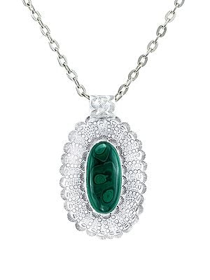 Large Embroidered Sterling Silver Pendant with Malachite Stone