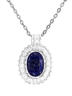 Large Embroidered Sterling Silver Pendant with Lapis Lazuli Stone
