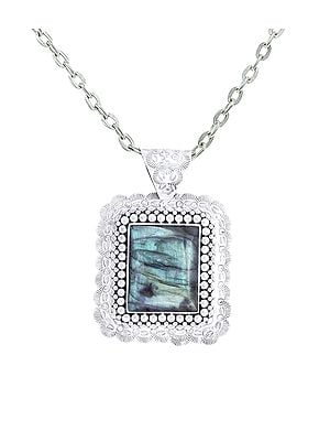 Large Square Shaped Embroidered Sterling Silver Pendant with Labradorite Stone