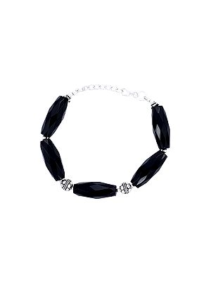 Sterling Silver Bracelet with Faceted Black Onyx Stone