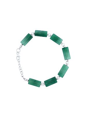 Sterling Silver Bracelet with Emerald Stone