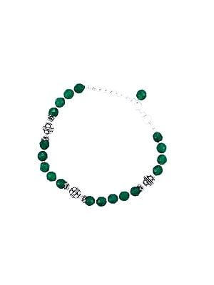 Sterling Silver Bracelet with Faceted Emerald Stone