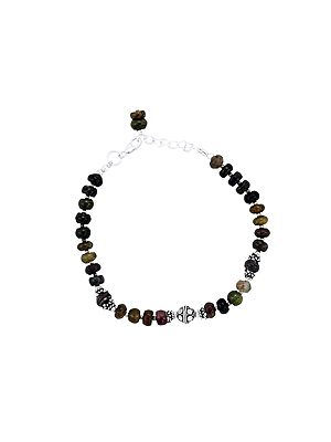 Sterling Silver Bracelet with Multi-Color Stone