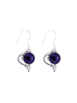 Designer Sterling Silver Earrings with Amethyst Stone