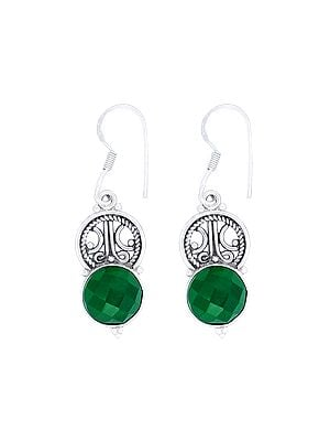 Designer Sterling Silver Earrings with Faceted Emerald Stone