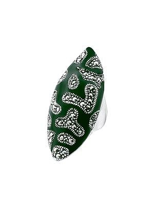 Big Size Leaf Shape Sterling Silver Ring with Emerald Stone