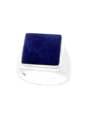 Square Sterling Silver Ring with Lapis Lazuli Stone