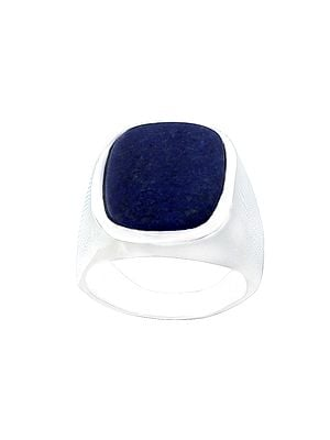 Oval Shape Sterling Silver Ring with Lapis Lazuli Stone