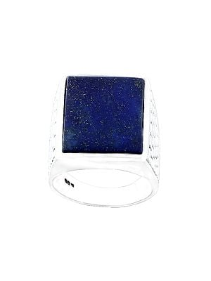 Square Brick Design Sterling Silver Ring with Lapis Lazuli  Stone