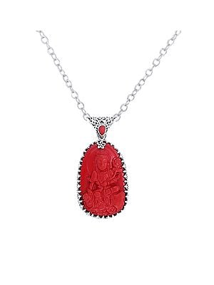 Red Stone Buddha Sterling Silver Pendant with Precious Gemstone