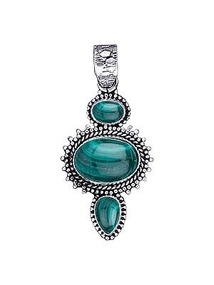 Sterling Silver Pendant with Malachite Gemstone