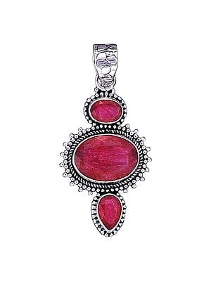 Sterling Silver Pendant with Ruby Gemstone