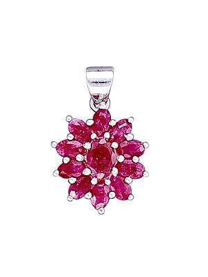 Sterling Silver Pendant with Faceted Pink Gemstone