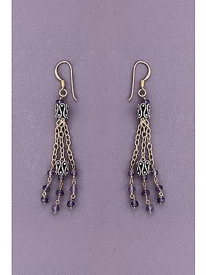 Designer Sterling Silver Earring with Amethyst Stone
