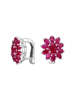 Stylish Sterling Silver Earring with Ruby
