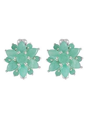 Floral Design Earring with Emerald Stone