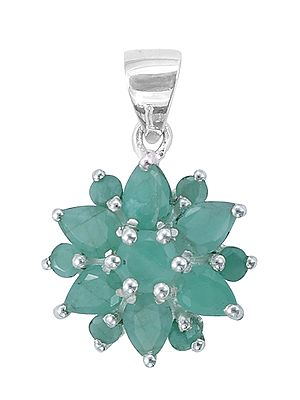 Floral Design Sterling Silver Pendant with Emerald Stone