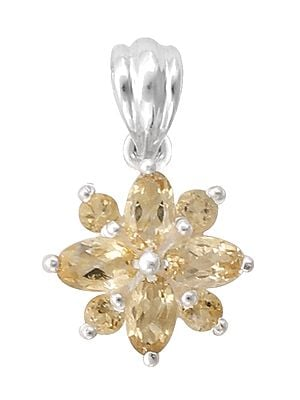 Stylish Sterling Silver Pendant with Citrine Stone