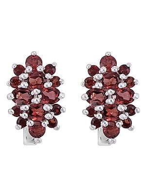 Stylish Sterling Silver Earring with Garnet Stone