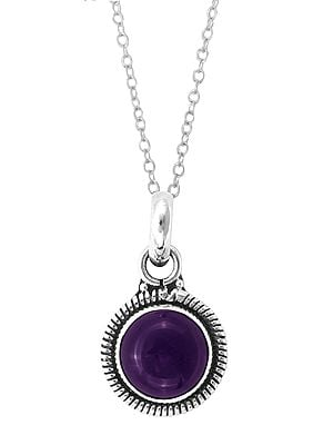 Designer Sterling Silver Pendant with Amethyst Stone