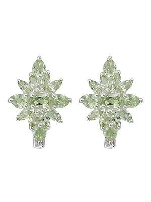 Designer Sterling Silver Earring with Green Gemstone