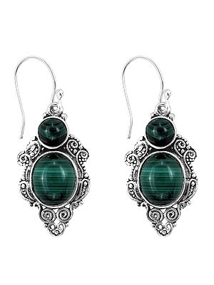 Designer Sterling Silver Earring with Green Malachite Stone