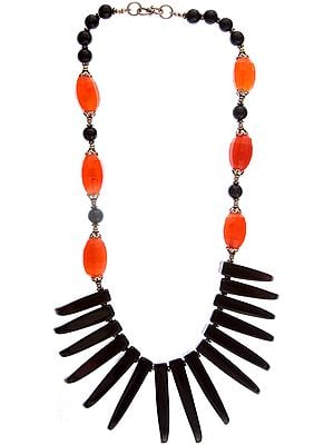 Designer Black Onyx Necklace with Carnelian
