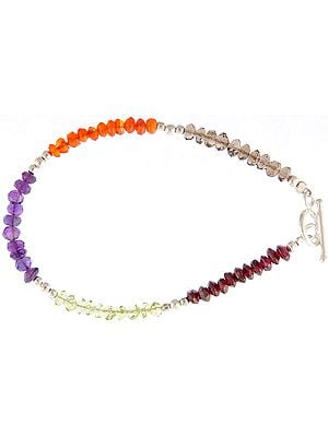 Faceted Gemstone Bracelet (Smoky Quartz, Carnelian, Amethyst and Peridot)