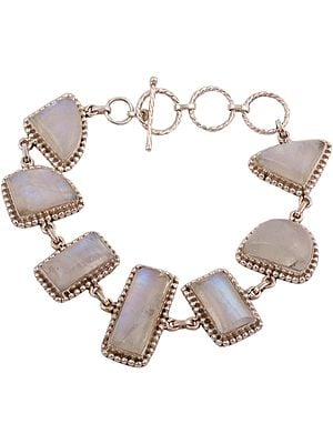 Studded Rainbow Moonstone Bracelet