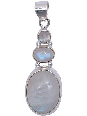 Sterling Three Moonstones Embellished Pendant