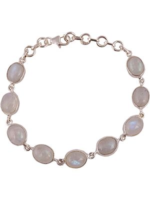 Sterling Bracelet Studded with Oval Rainbow Moonstones