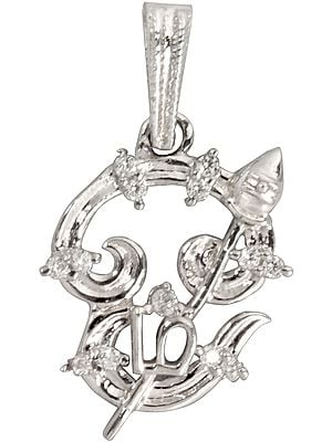 Tamil OM (AUM) Pendant Embelished with Zircon
