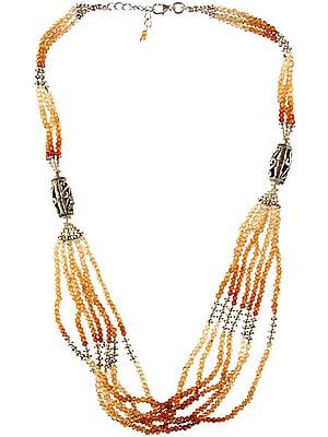 Hessonite Israel Cut Beaded Necklace