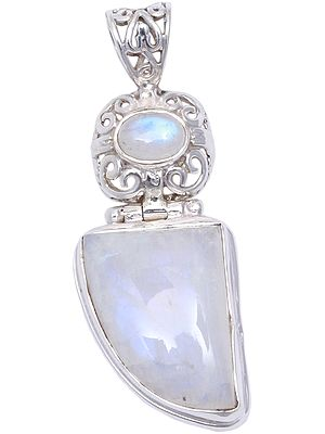 Filigree Designed Pendant with Rainbow Moonstones