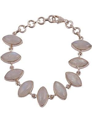 Sterling Rainbow Moonstone Marquise Bracelet