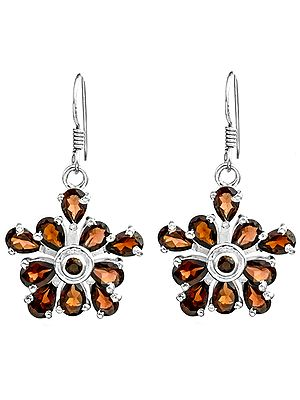 Fine Cut Gemstone Flower Earrings