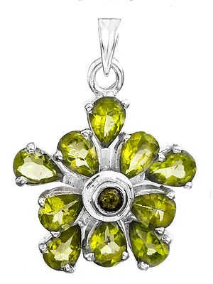 Fine Cut Gemstone Flower Pendant