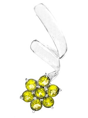 Flower Pendant with Faceted Gems
