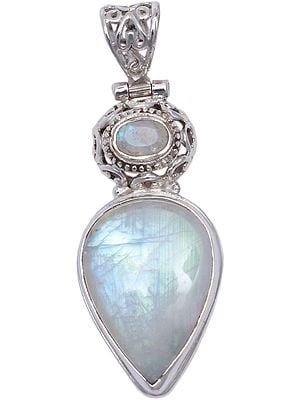 Sterling Moonstone Tear-Drop Pendant with Filigree Design