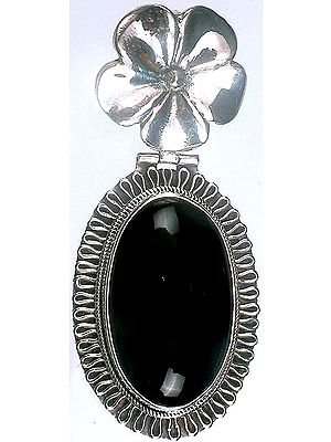 Black Onyx Oval Pendant with Flower Bale
