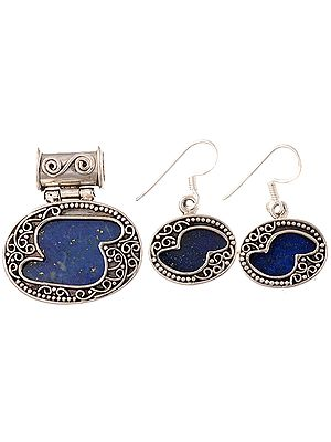 Lapis Lazuli Pendant with Matching Earrings Set