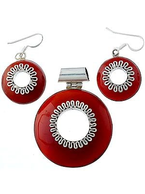Carnelian Pendant with Matching Earrings Set