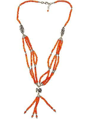 Faceted Carnelian Beaded Necklace
